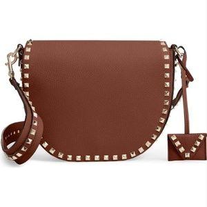Valentino Crossbody Rockstud Saddle Brown Leather